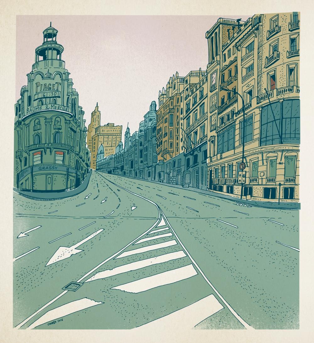 currelismo gran vía madrid ilustración online art