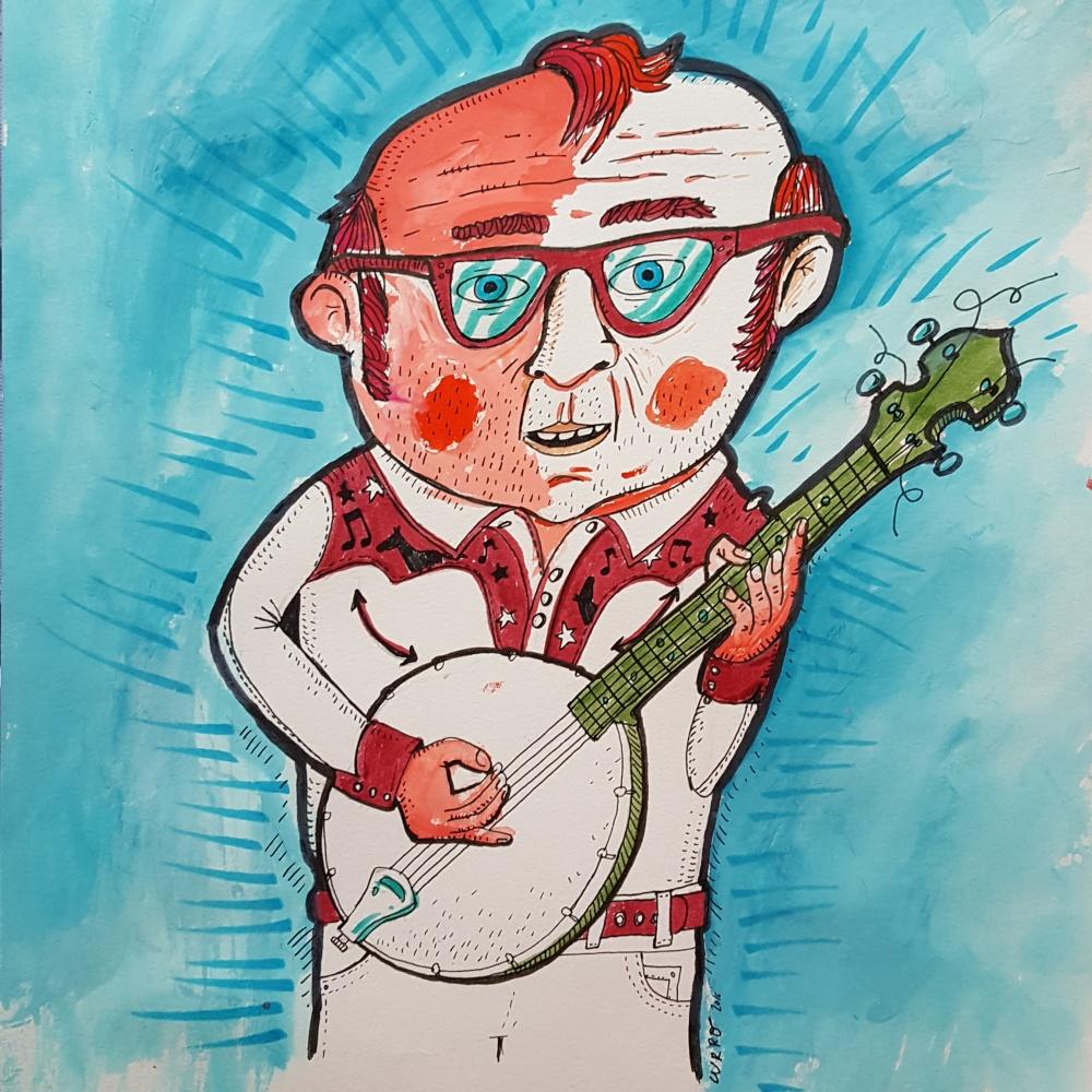 Mr Banjo currelismo ilustrado ilustración